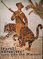 0037123 © Granger - Historical Picture ArchiveWORLD WAR I: U.S. POSTER.   'Travel? Adventure?' American World War I Marine Corps recruiting poster, c1918, by James Montgomery Flagg.