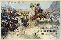 0114460 © Granger - Historical Picture ArchiveWORLD WAR I: FRENCH POSTER.   'For Your Country: Subscribe to the Loan.' Algerians and Tunisians on horses charging into battle to support French troops. Lithographic poster, 1918, encouraging French citizens to buy war bonds.