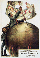 0114463 © Granger - Historical Picture ArchiveWORLD WAR I: FRENCH POSTER.   French soldier sticking a flag with the word Libérté on it into a globe. Lithograph poster by Abel Faivre, 1917, advertising the 3rd National Defense Loan to support French troops during World War I.