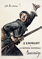 0114476 © Granger - Historical Picture ArchiveWORLD WAR I: FRENCH POSTER.   'We'll Get Them!' Lithograph poster by Abel Faivre, 1916, advertising the 2nd National Loan to support French troops during World War I.