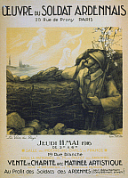 0114494 © Granger - Historical Picture ArchiveWORLD WAR I: FRENCH POSTER.   A French soldier in a trench looking at female apparitions in the sky. Lithograph poster, 1916, advertising a fundraising sale and performance to support French troops during World War I.
