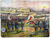 0114506 © Granger - Historical Picture ArchiveWORLD WAR I: FRENCH POSTER.   Lithograph poster, 1917, depicting French troops on a battlefield. Field Marshal Philippe Pétain pins a medal on a French flag.