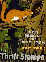 0131278 © Granger - Historical Picture ArchiveWORLD WAR I: THRIFT STAMPS.   Poster for Thrift Stamps during World War I. Lithograph, 1917.