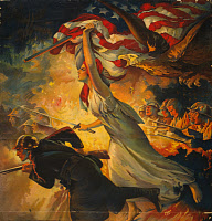0132660 © Granger - Historical Picture ArchiveWORLD WAR I: POSTER, c1918.   American poster for war bonds featuring a soldier charging into battle accompanied by Liberty bearing a sword and flag. Lithograph by Edwin Howland Blashfield, c1918.