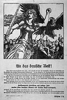 0163246 © Granger - Historical Picture ArchiveWORLD WAR I: POSTER, 1914.   German poster featuring a Valkyrie and the German imperial eagle protecting the German people. The text is a statement from Kaiser Wilhelm II encouraging citizens to contribute to the war effort. Lithograph by Franz Stassen, c1914.
