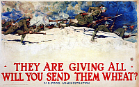 0322922 © Granger - Historical Picture ArchiveWWI: FOOD SUPPLY, 1918.   'They are giving all - Will you send them wheat?' Lithograph by Harvey Dunn, 1918.