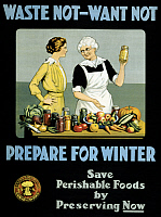 0322943 © Granger - Historical Picture ArchiveWWI: FOOD SUPPLY, c1915.   'Waste not, want not - prepare for winter.' Lithograph by the Canada Food Board, c1915.