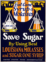 0323364 © Granger - Historical Picture ArchiveWWI: POSTER, 1918.   'Eat cane syrup & molasses, save sugar by using best Louisiana molasses and sugar cane syrup.' Lithograph for the United States Food Administration, 1918.