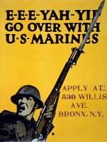0354439 © Granger - Historical Picture ArchiveWWI: POSTER, 1917.   'E-E-E-Yah-Yip Go over with U.S. Marines.' Lithograph by Charles Buckley Falls, 1917.