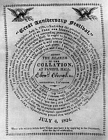 0106842 © Granger - Historical Picture ArchiveCOLLATION TICKET, 1824.   Ticket to the collation at Faneuil Hall in Boston, issued by John Quincy Adams in observance of the 4th of July, 1824, with a quotation by John Adams.