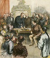 0010783 © Granger - Historical Picture ArchiveCHESTER ALAN ARTHUR (1884).   President Chester Alan Arthur opening the New Orleans Exposition by electricity from the East Room of the White House on 16 December 1884 in the presence of federal officials and representatives of foreign governments: contemporary colored engraving.