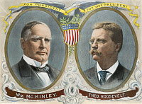 0007997 © Granger - Historical Picture ArchivePRESIDENTIAL CAMPAIGN, 1900.   William McKinley and Theodore Roosevelt as the Republican candidates for President and Vice President on a lithograph campaign poster.