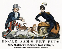 0009069 © Granger - Historical Picture ArchiveCARTOON: UNCLE SAM, 1840.   'Uncle Sam's Pet Pups!' One of the earliest cartoon appearances of Uncle Sam and showing him chasing Andrew Jackson and Martin Van Buren into the hard cider barrel held by presidential candidate W.H. Harrison. Cartoon, 1840.