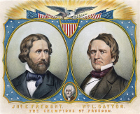 0009501 © Granger - Historical Picture ArchivePRESIDENTIAL CAMPAIGN, 1856. Campaign poster for John Charles Fremont and William L. Dayton as the Presidential and Vice-Presidential candidates of the new Republican party. Lithograph, poster, 1856.
