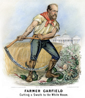 0010973 © Granger - Historical Picture ArchivePRESIDENTIAL CAMPAIGN, 1880.   'Farmer Garfield Cutting a Swath to the White House.' James Garfield as the 1880 Republican Party candidate for President on a lithograph poster by Currier & Ives, 1880.