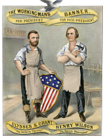 0010976 © Granger - Historical Picture ArchivePRESIDENTIAL CAMPAIGN, 1872.   'The Working-Man's Banner.' Ulysses S. Grant and Henry Wilson as the Republican candidates for President and Vice President on a lithograph campaign poster by Currier & Ives, 1872.