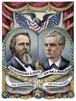 0010977 © Granger - Historical Picture ArchivePRESIDENTIAL CAMPAIGN, 1876.   'Grand National Republican Banner.' Rutherford B. Hayes and William A. Wheeler as the 1876 Republican candidates for President and Vice President on a lithograph campaign poster by Currier & Ives, 1876.