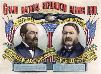 0010978 © Granger - Historical Picture ArchivePRESIDENTIAL CAMPAIGN, 1880.   'Grand National Republican Banner 1880.' James A. Garfield and Chester A. Arthur as the Republican Party candidates for President and Vice President on a lithograph campaign poster by Currier & Ives, 1880.