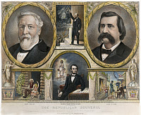 0010979 © Granger - Historical Picture ArchivePRESIDENTIAL CAMPAIGN, 1884.   James G. Blaine and John A. Logan as the presidential and vice presidential candidates on a Republican party lithograph campaign poster of 1884.