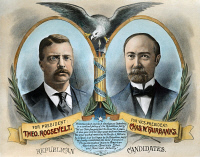 0011121 © Granger - Historical Picture ArchivePRESIDENTIAL CAMPAIGN, 1904.   Theodore Roosevelt and Charles W. Fairbanks as the Republican party candidates for President and Vice President on a lithographic campaign poster by Kurz & Allison, 1904.