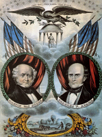 0011694 © Granger - Historical Picture ArchivePRESIDENTIAL CAMPAIGN, 1848.   Martin Van Buren and Charles Francis Adams as Free Soil Party candidates for President and Vice President on an 1848 campaign poster by Nathaniel Currier.
