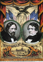0011695 © Granger - Historical Picture ArchivePRESIDENTIAL CAMPAIGN, 1856.   John C. Fremont and William L. Dayton as the first Republican Party candidates for President and Vice President on an 1856 campaign poster by Nathaniel Currier.