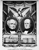 0029850 © Granger - Historical Picture ArchivePRESIDENTIAL CAMPAIGN, 1848.   Martin Van Burren and Charles Francis Adams as Free Soil Party candidates for President and Vice President on an 1848 campaign poster. Lithograph by Nathaniel Currier.