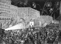 0045670 © Granger - Historical Picture ArchiveNYC: DEMOCRAT PARADE, 1876.   A parade in New York City during the 1876 presidential campaign: wood engraving from a contemporary American newspaper.