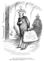 0046108 © Granger - Historical Picture ArchivePRESIDENTIAL CAMPAIGN 1884.   A Thomas Nast cartoon from 1 November 1884 attacking Republican candidate James Gillespie Blaine, with the spirit of the late 'Boss' Tweed depicted at his rear, for corruption.