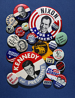 0049886 © Granger - Historical Picture ArchiveCAMPAIGN BUTTONS.   An assortment of buttons from 20th century American presidential campaigns.