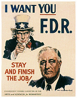 0058035 © Granger - Historical Picture ArchivePRESIDENTIAL CAMPAIGN, 1940.   Poster by James Montgomery Flagg from the 1940 presidential campaign, supporting the re-election of President Franklin D. Roosevelt.