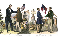 0065447 © Granger - Historical Picture ArchivePRESIDENTIAL CAMPAIGN, 1864.  American cartoon from the presidential campaign of 1864 showing the rival candidates, President Abraham Lincoln (Union and Liberty!) and General George B. McClellan (Union and Slavery!).