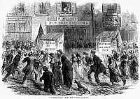 0066967 © Granger - Historical Picture ArchivePRESIDENTIAL CAMPAIGN, 1864.   Outside a polling place in a slum district (Five Points) of New York on Election Day, 8 November. Wood engraving from a contemporary English newspaper.