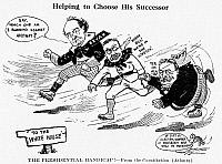 0067259 © Granger - Historical Picture ArchivePRESIDENTIAL CAMPAIGN 1908.   'The Presidential Handicap!' Democratic candidate William Jennings Bryan finds he has to compete not only with Republican candidate William Howard Taft, but also with President Theodore Roosevelt, Taft's mentor, in the 1908 election campaign. Contemporary American cartoon.