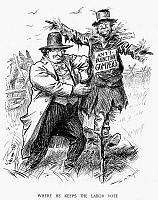 0087174 © Granger - Historical Picture ArchivePRESIDENTIAL CAMPAIGN, 1908.   'Where He Keeps the Labor Vote.' William Jennings Bryan pulls votes out of the pocket of Samuel Gompers, head of the American Federation of Labor, at the Democratic National Convention in Chicago, Illinois, 1908. Cartoon by W.A. Rogers.