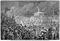 0087180 © Granger - Historical Picture ArchivePRESIDENTIAL CAMPAIGN, 1880.   The grand Republican party procession passing the review stand, opposite the hand of the Statue of Liberty in New York, 11 October 1880. Wood engraving from a contemporary American newspaper, after a drawing by Thure de Thulstrup.