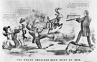 0089982 © Granger - Historical Picture ArchiveCARTOON: ELECTION OF 1856.   'The Great American Buck Hunt of 1856.' Republican presidential nominee James Buchanan stands upon the 'Union Rock' to defeat anti-slavery Democratic nominee John C. Fremont and Know-Nothing nominee Millard Fillmore (buck), as abolitionist Henry Ward Beecher looks on at far left. Lithograph, 1856.