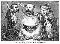 0090018 © Granger - Historical Picture ArchiveCARTOON: ELECTION OF 1868.   'The Democratic Hell-Broth.' American cartoon by Thomas Nast, 1868, deriding Democratic presidential nominee Horatio Seymour (right) and his running mate, Francis Prestion Blair, Jr., (left) for their white-supremacist, pro-Southern platform.