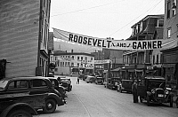 0121244 © Granger - Historical Picture ArchivePRESIDENTIAL CAMPAIGN, 1936.   A banner for Franklin Delano Roosevelt and John Nance Garner for President and Vice President at Harwick, Vermont. Photograph by Carl Mydans, September 1936.