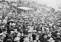0130035 © Granger - Historical Picture ArchivePRESIDENTIAL CAMPAIGN, 1908.   Crowds in Faribault, Minnesota, gathered at a railroad station to hear Republican candidate William Howard Taft speak on his whistle-stop tour during the U.S. presidential campaign of 1908.