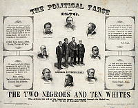 0133722 © Granger - Historical Picture ArchivePRESIDENTIAL ELECTION, 1876.   'The Political Farce of 1876.' Lithograph poster alleging fraud in the 1876 presidential election between Republican Rutherford B. Hayes and Democrat Samuel Tilden in which twenty electoral votes were disputed and ultimately awarded to Hayes.