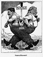0163305 © Granger - Historical Picture ArchivePRESIDENTIAL CAMPAIGN, 1912.   Former president Theodore Roosevelt and President William Howard Taft battling for the Republican presidential nomination in a 1912 American cartoon.