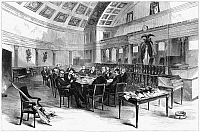 0267344 © Granger - Historical Picture ArchiveELECTORAL COMMISSION, 1877.   Session of the Electoral Commission created to resolve twenty disputed electoral votes, including four from Florida, in the 1876 presidential election between Republican Rutherford B. Hayes and Democrat Samuel Tilden. Wood engraving after Theodore Davis, 1877.