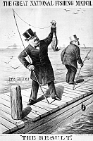 0017559 © Granger - Historical Picture ArchivePRESIDENTIAL CAMPAIGN, 1888.   A cartoon showing Grover Cleveland, prematurely, as victor of the 1888 presidential election; he was actually to lose in the electoral college to opponent Benjamin Harrison (right) despite winning the popular vote. Contemporary lithograph.