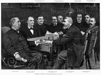 0354756 © Granger - Historical Picture ArchiveCLEVELAND CABINET, 1893.   President Grover Cleveland (left), 22nd and 24th President of the United States, with his cabinet at the start of his second term, March 1893. Contemporary American wood engraving after a drawing by Louis Loeb.