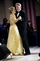 0266372 © Granger - Historical Picture ArchiveTHE CLINTONS, 1997.   President Bill Clinton and First Lady Hillary Rodham Clinton dancing at Clinton's Inaugural Ball in Washington, D.C. Photograph, 1997.