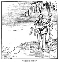 0066930 © Granger - Historical Picture ArchiveCOOLIDGE CARTOON, 1928.   'Do I Hear Firing?' Cartoon by Rollin Kirby from the New York 'World,' 16 January 1928, published on the news of the ordering of an additional 1,000 marines to Nicaragua.