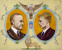 0527489 © Granger - Historical Picture ArchiveCOOLIDGE AND LINDBERGH.   Portraits of Calvin Coolidge and Charles Lindbergh. Drawing by Victor Facchina, 1928.