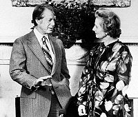 0125700 © Granger - Historical Picture ArchiveCARTER AND THATCHER, 1977.   U.S. President Jimmy Carter meeting with British Conservative Party leader Margaret Thatcher at the White House in Washington, D.C., 13 September 1977.