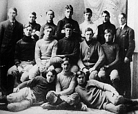 0053494 © Granger - Historical Picture ArchiveDWIGHT D. EISENHOWER   (1890-1969). 34th President of the United States. Eisenhower seated at extreme right when a member of the Abilene, Kansas, high school football team in 1907.